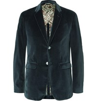 Gucci Petrol Slim Fit Cotton Velvet Blazer Blue