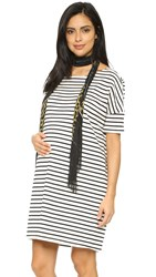 Hatch The Afternoon Dress Black White Stripe