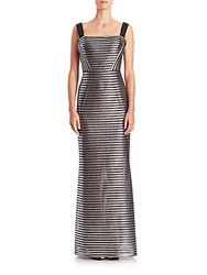 Phoebe Couture Striped Metallic Gown Silver Black