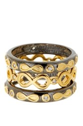 Freida Rothman 14K Gold And Rhodium Plated Sterling Silver Cz Infinity Rings Set Of 3 Size 5 Metallic