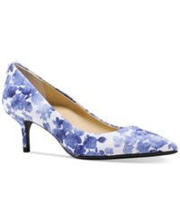 Michael Michael Kors Mk Flex Kitten Heel Pumps Women's Shoes Blue Floral