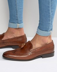 Asos Brogue Loafers In Tan Leather With Gold Tassel Detail Brown
