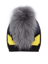 Fendi Monster Fur Trimmed Wool Hat Grey Black