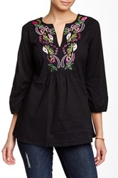 Chaudry Split Neck Embroidered Tunic Black