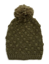 Madison 88 Knit Pompom Hat Olive Green