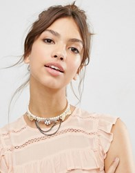 Asos Vintage Faux Pearl Choker Necklace Cream
