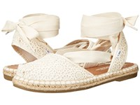 Toms Bella Espadrille Natural Moroccan Crochet Women's Shoes White