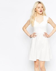 B.Young Sweetheart Neck Skater Dress Off White