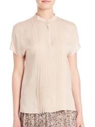 Max Mara Pleated Short Sleeve Blouse Beige