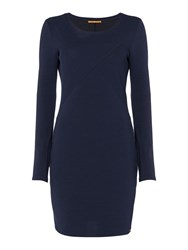 Hugo Boss Derbody Long Sleeve Fitted Dress Navy