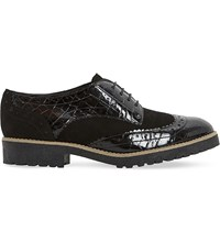 Dune Faune Leather And Suede Brogues Black Leather Mix