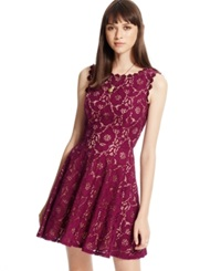 City Studios Juniors' Lace Fit And Flare Dress Plum Peach