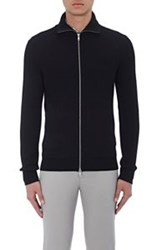 Theory Men's Ronzons Zip Front Sweater Black Black Blue