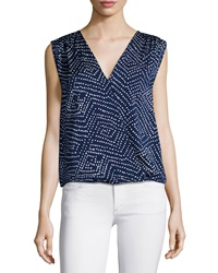 Diane Von Furstenberg Sleeveless Silk Blend Polka Dot Blouse Batik Midnight