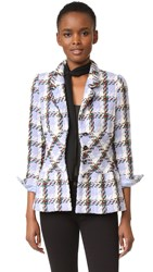 Wgaca Chanel Plaid Jacket Previously Owned Blue Green