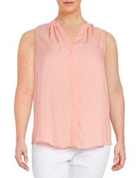 Lord And Taylor Plus Textured Sleeveless Blouse Solar