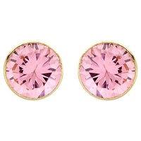 Ibb 9Ct Gold Round Cubic Zirconia Stud Earrings Pink