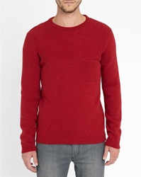 M.Studio Bright Red Corentin Fancy Knit Chest Pocket Sweater