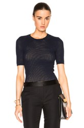 Yigal Azrouel Waffle Knit Top In Blue