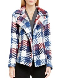 Vince Camuto Plaid Notch Collar Coat Red Multi