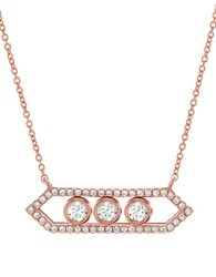Crislu Sway Cubic Zirconia And 18K Rose Goldplated Sterling Silver Geo Necklace