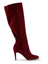 Pierre Hardy Ruched Knee High Boots Red