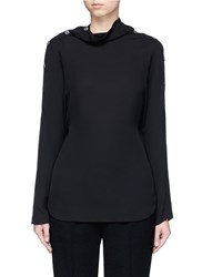Theory 'Brilivna' Convertible Button Shoulder Silk Top Black