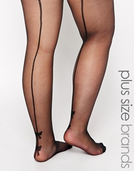 Pretty Polly Curves Bow Backseam Tights Black
