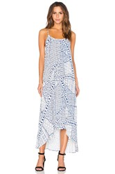 Pink Stitch Resort Maxi Dress White