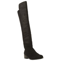 Dune Trish Luxe Reptile Effect Over Knee Boot Black Leather