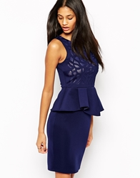 Michelle Keegan Loves Lipsy Cutwork Mesh Pencil Dress With Peplum Navy