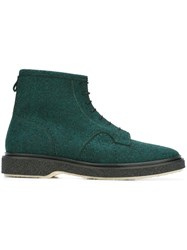 Adieu Paris Lace Up Ankle Boots Green