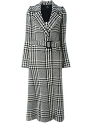 Twin Set Houndstooth Check Long Coat Black