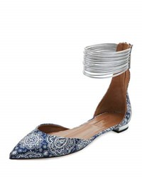 Aquazzura Hello Lover Ankle Strap Flat Damask Blue