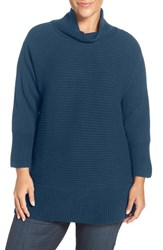 Vince Camuto Plus Size Women's Ribbed Cotton Blend Turtleneck Sweater Naval Navy