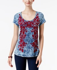 Inc International Concepts Embroidered T Shirt Only At Macy's Washed Blue