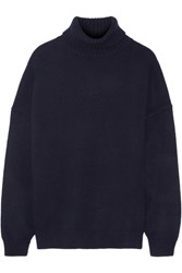Tibi Oversized Cashmere Turtleneck Sweater Navy
