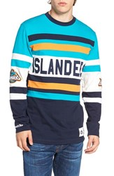 Mitchell And Ness Men's New York Islanders Open Net Pullover Teal Green