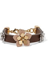 Fendi Gold And Silver Tone Leather Bracelet Metallic