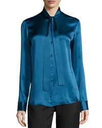 The Row Tipet Silk Tie Neck Blouse Marine Blue
