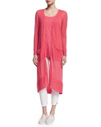 Joan Vass Global Long Sheer Button Front Cardigan Strawberry Petite