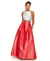 Xscape Evenings Xscape Contrast Halter Two Piece And Ball Skirt White Coral