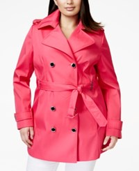 Calvin Klein Plus Size Double Breasted Trench Coat Hibiscus