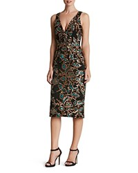 Dress The Population Margo Sequin V Neck Black Teal Gold