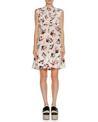 Marni Sleeveless Ruffled Crisscross Dress White Print