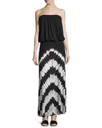 Young Fabulous And Broke Young Fabulous And Broke Sydney Strapless Chevron Striped Maxi Dress Black White
