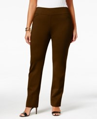 Charter Club Plus Size Cambridge Tummy Control Ponte Pants Only At Macy's Rich Truffle