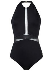 Brigitte Sheer Panel Halterneck Swimsuit Black