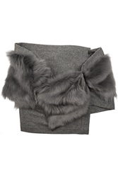Karl Donoghue Shearling And Wool Scarf Gray