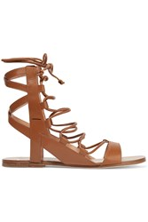 Sigerson Morrison Bunny Lace Up Leather Sandals Brown
